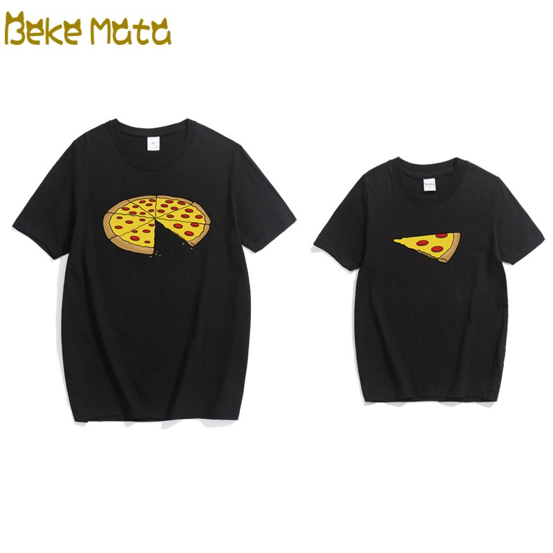 54b23492b6ca Family Matching T-shirts 2018 Summer Casual Matching Father Son Clothes  Pizza Print Short Sleeve
