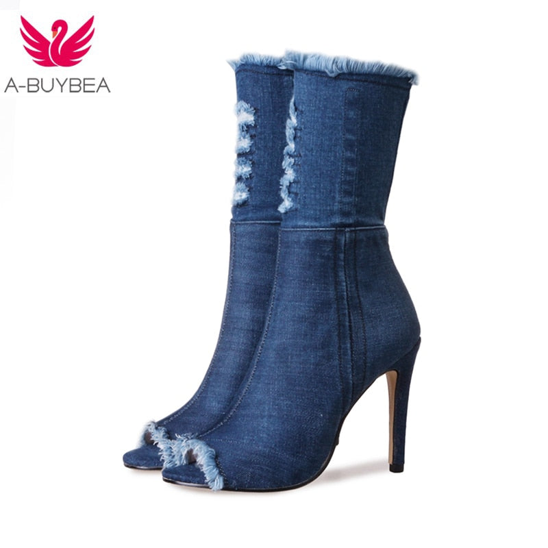 1fdba0b3361 Hot sale Blue jeans boots new summer shoes ankle boots for women boots blue  denim boots