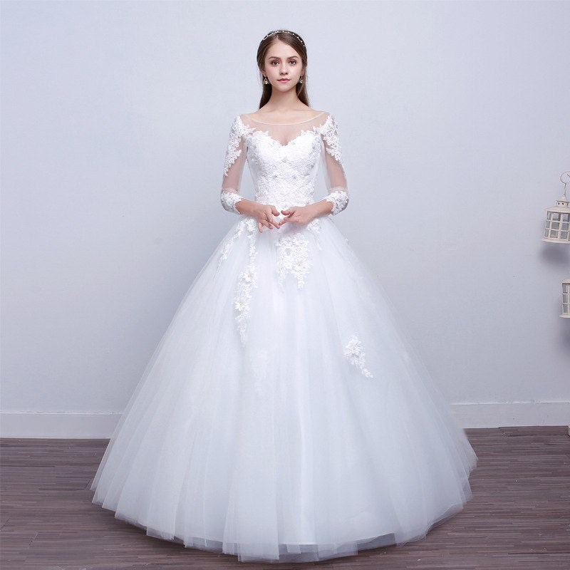 Mesh Sleeve Wedding Dress