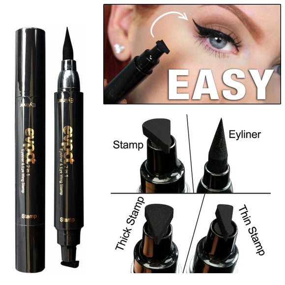 2 in 1 Winged Eyeliner Stamp Waterproof Easy Quick Makeup Cosmetic Liquid Eye Liner Pencil Black Pen Wing Eyeliner Stencil
