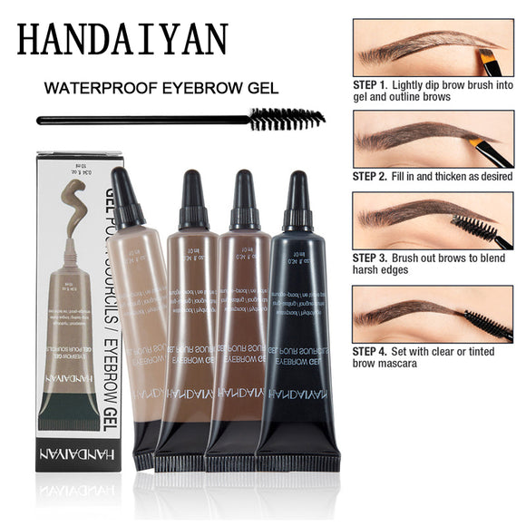 Henna Eyebrow Gel BRUNETTE Tint Eyebrow Dye Cream Caramel Black Microblading Eyebrow Tattoo Pen Pomade Brow Enhancer Brush Kit-Makeup-Zodeys-BLACK 6-Zodeys