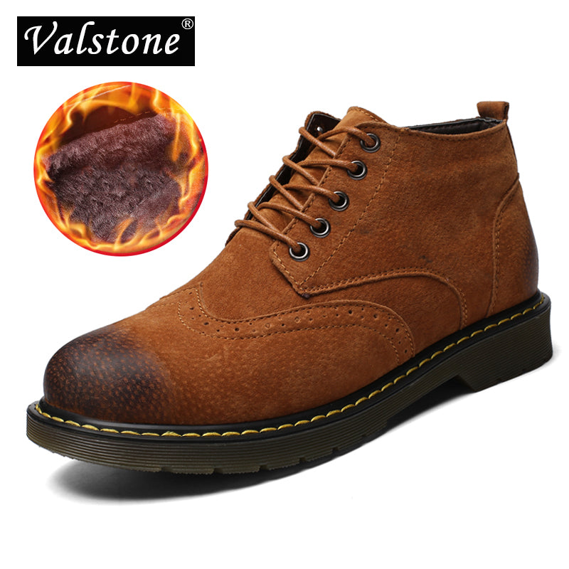 ccb9d50c8590c Valstone 2018 Quality Genuine Leather boots Men warm Velvet Winter shoes  luxury Brogues fashion sneakers Rubber