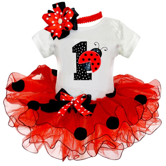 Fancy Baby Girl Ladybug 1st Birthday Party Dress Outfit Tutu Cake Smash Toddler Girls Kids Summer Clothes 1 Year Infant Clothing