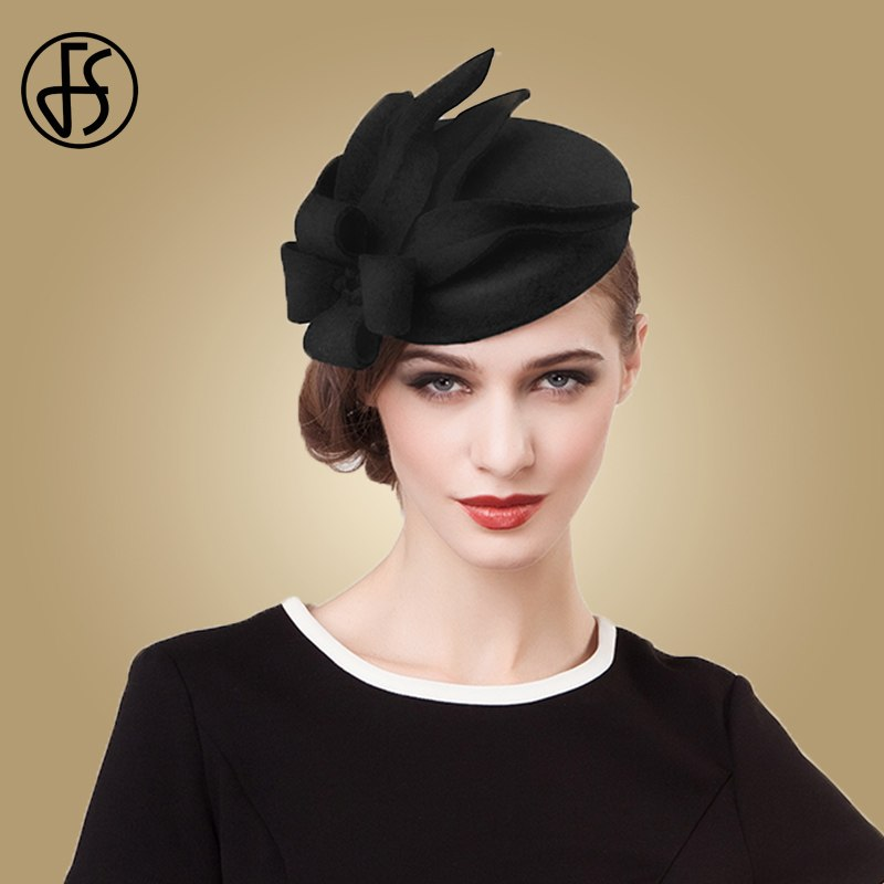 ... FS Fascinators For Women Elegant Wedding Wool Felt Hats Vintage Black  Grey Pillbox Hat Ladies Winter ... b6e9a4082b2
