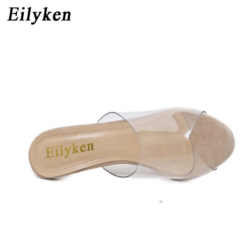 0bb9451080f Eilyken 2018 PVC Jelly Sandals Open Toe High Heels Women Transparent Perspex  Slippers Shoes Heel Clear
