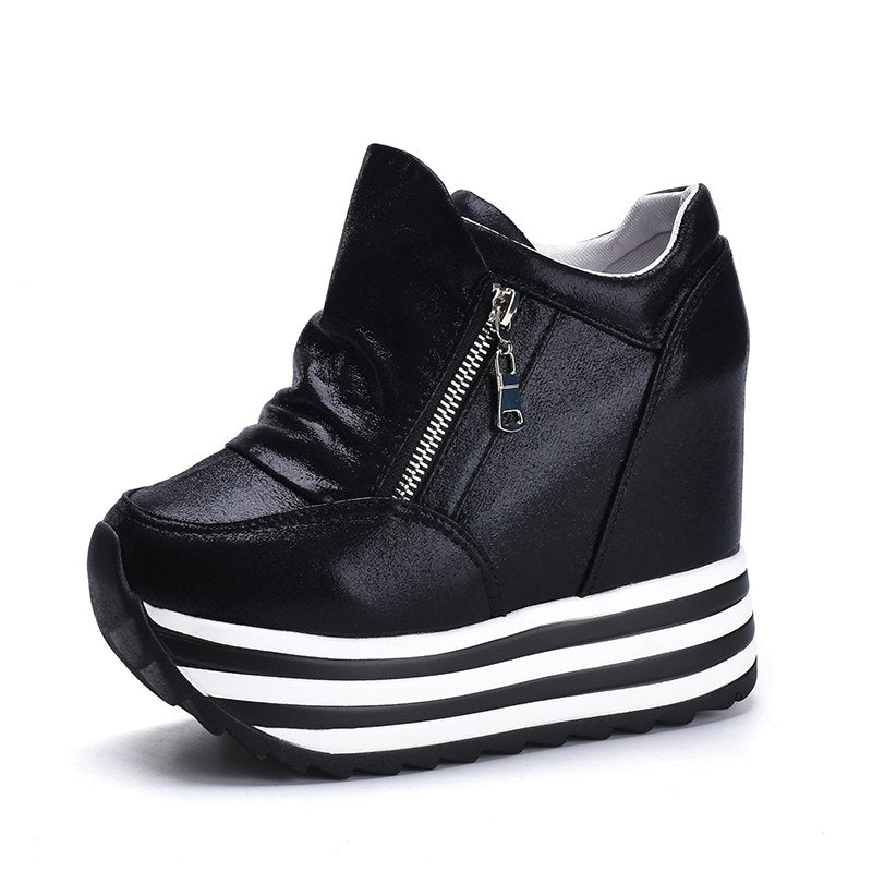 18852c3ccea Women Spring Ankle Boots Hidden Wedge Platform Sneakers Woman Boots 10