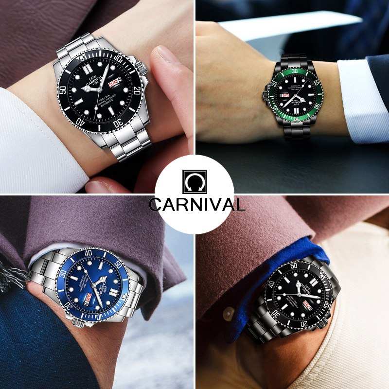 ff244e7e269 Top Brand Luxury CARNIVAL Watch Men GMT Automatic Mechanical Watches  Business Luminous Sapphire Stainless Steel Diving