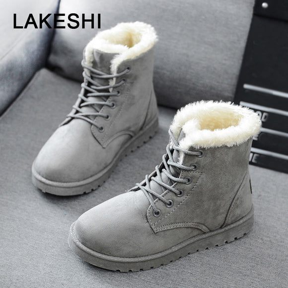 Women Boots Faux Suede Winter Boots Women Lace Up Women Ankle Boots Warm Fur Winter Shoes Solid Snow Boots Leather Women Shoes-Boots-Zodeys-Beige-10-Zodeys