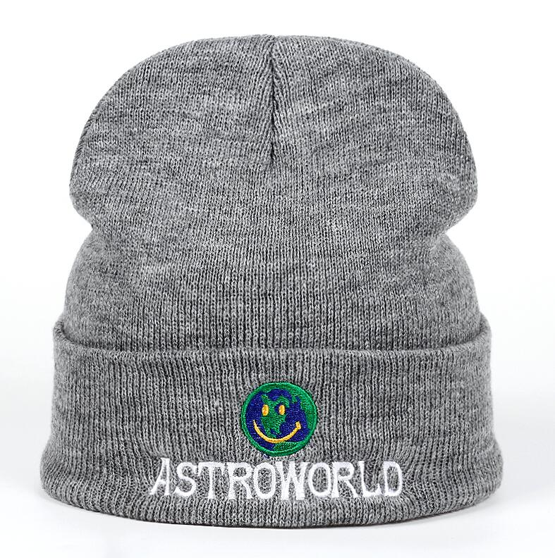 937622e5b80 2018 New Travi  Scott Knitted Hat ASTROWORLD Beanie embroidery Astroworld  Ski Warm Winter Unisex Travis