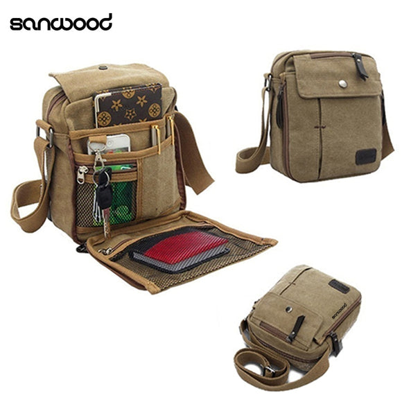 2016 New Fashion Men's Vintage Canvas Multifunction Travel Satchel Casual Messenger Shoulder Bag