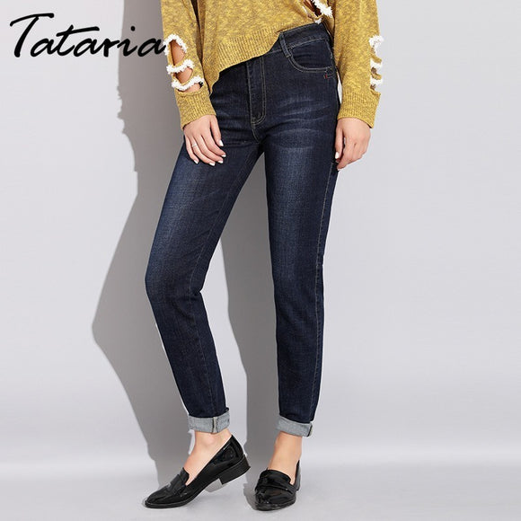 23c55e0678016 Tataria Winter Women Jeans High Waist Straight Stretch Slim Jeans For Woman Plus  Size Autumn Full