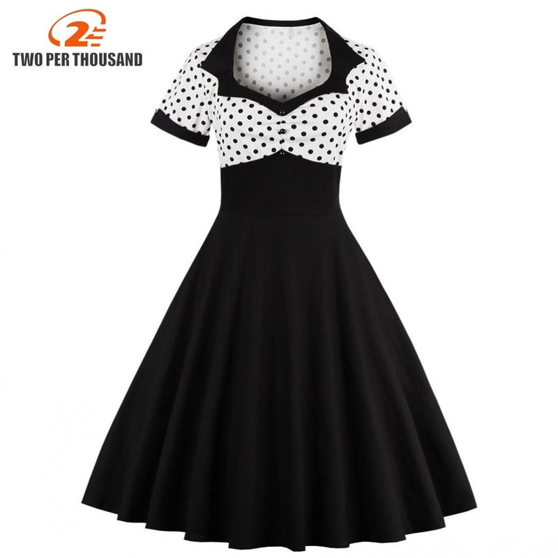 61c774ce117b 2018 Summer Women Dress Retro 1950s 60s Dress Female Polka Dots Pinup  Rockabilly Sexy Party Dresses