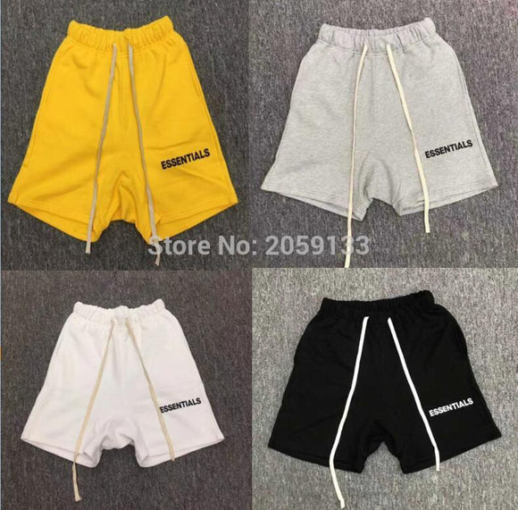Fashion Fear Of God Shorts Justin Bieber Men Women 1:1 White Essentials Shorts Yellow Essentials Fear Of God Shorts 5 Style S-XL