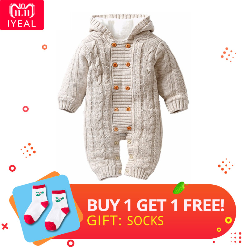 bfcd2ca07fd8 Iyeal Thick Warm Infant Baby Rompers Winter Clothes Newborn Baby Boy G