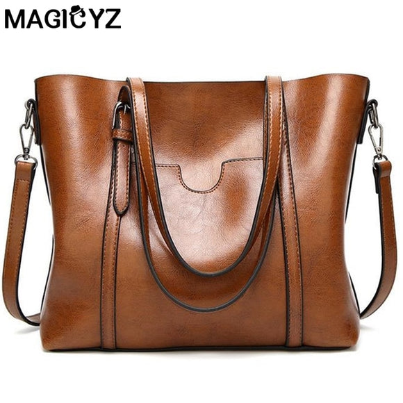Women bag Oil wax Women's Leather Handbags Luxury Lady Hand Bags With Purse Pocket Women messenger bag Big Tote Sac Bolsos Mujer-Zodeys-Black-Zodeys