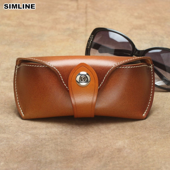 Handmade Vintage Eyeglasses Box Hard Genuine Leather Luxury Spectacle Glasses Bag Case Eyewear Sunglasses Holder Cover Men Women