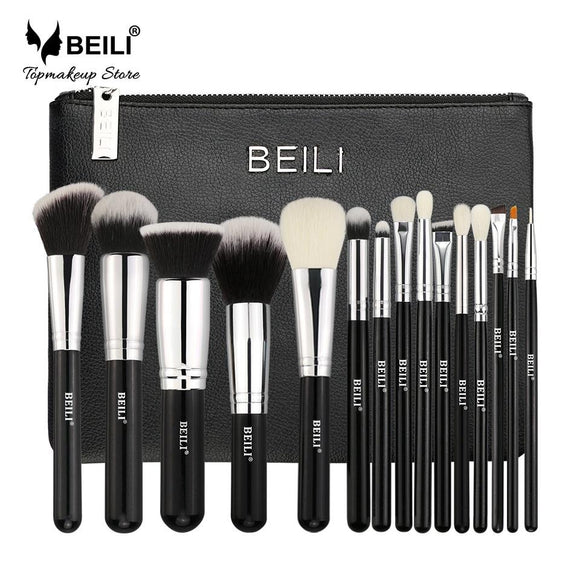 BEILI Professional 15 Pcs Makeup brushes Set Classic black Goat synthetic hair