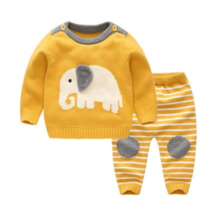 Spring&Autumn Baby Girl/Boy Set Wool Knitted Cotton Sweater Clothing Sets Infant Warm Pullover Pants Suit Newborns Toddler Cloth
