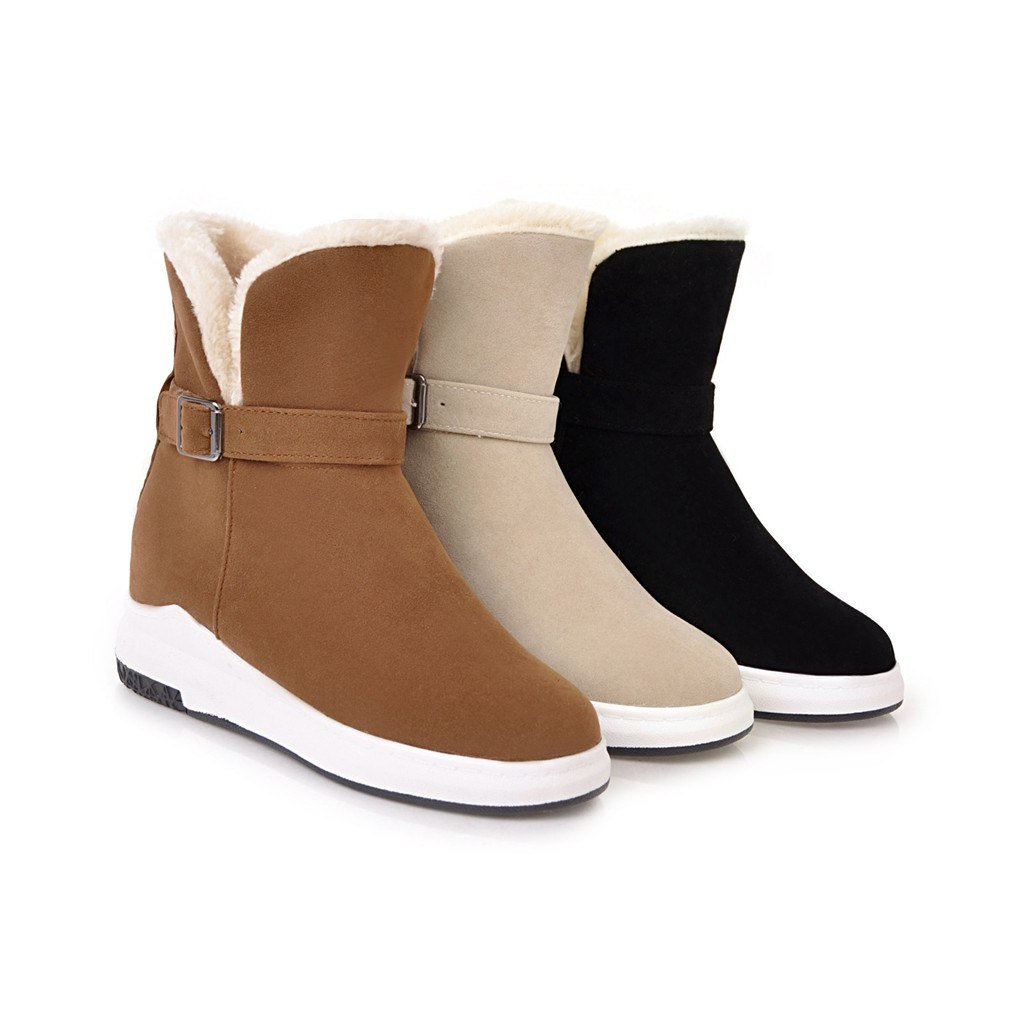 ee3835b638a0 NEMAONE Female Winter Warm Plush Ankle Snow Boots 2019 Women Fashion Fur  Lace Up Thick Heel