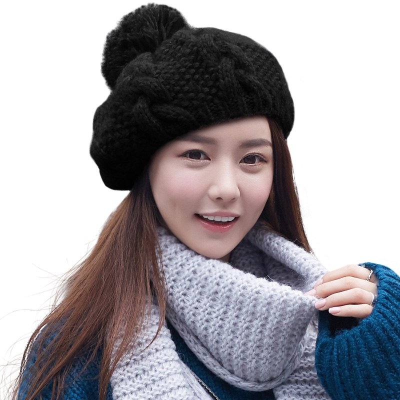 ... SIGGI Winter Women Beanies Skullies Pompom Cute Acrylic Wool Solid  Knitted Hats For Girls Youth Soft ... e2c5642b6dd9