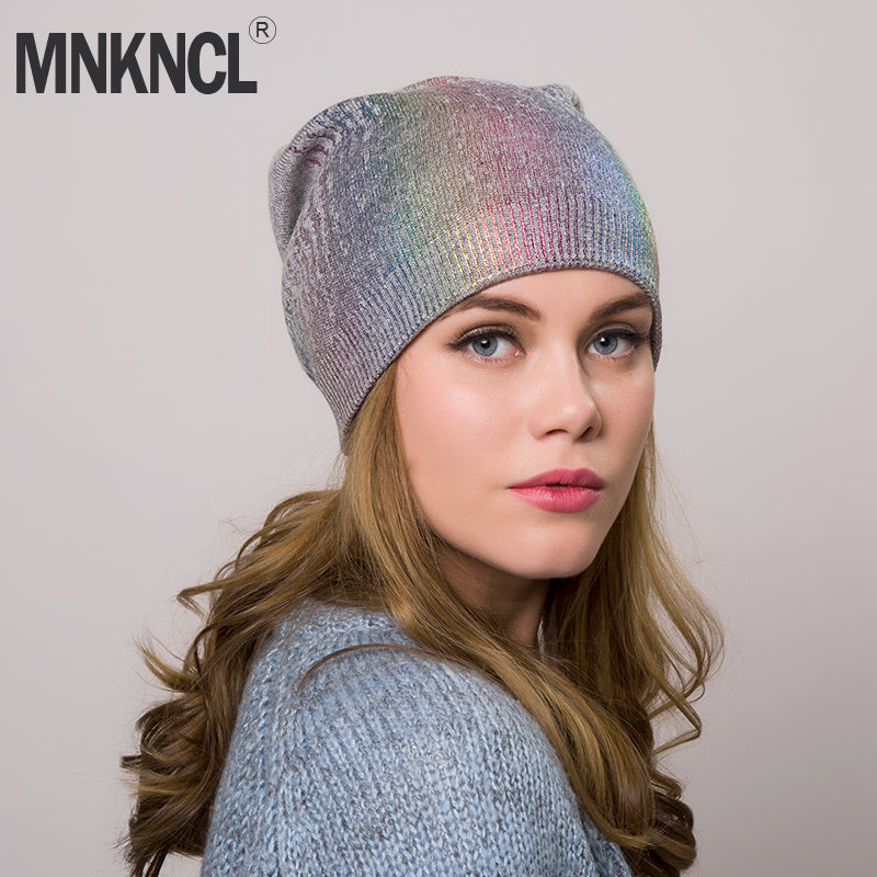 434c9cbfbf6 Women s Winter Colorful Hat Knitted Wool Beanie Female Fashion Skullies Casual  Outdoor Mask Ski Caps Thick