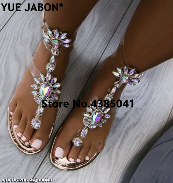 2018 shoes woman sandals women Rhinestones Chains Flat Sandals Thong Crystal Flip Flops sandals gladiator sandals 43 free ship