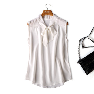 b9f3ea6abe4a6 ... 100% Natural Silk Sleeveless Top Female Summer New Arrive Silk Bow  Loose Outer Wear Vest ...