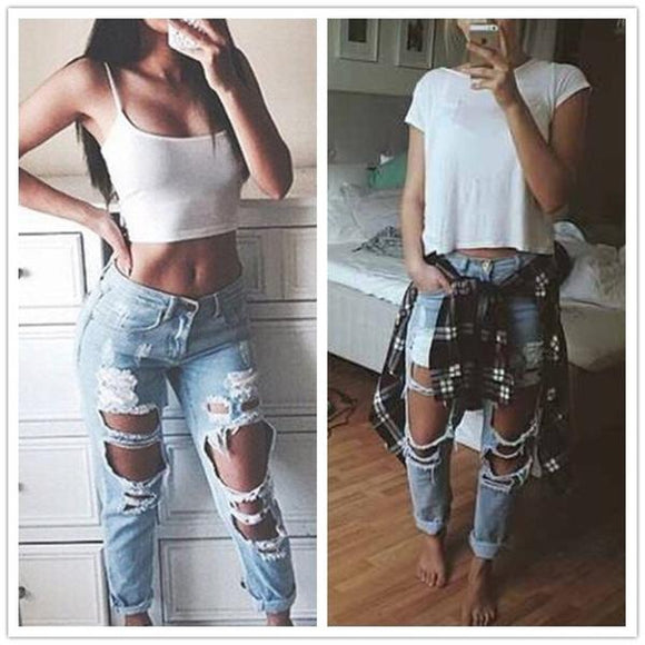 Street Chic Ripped Jeans Female Casual Washed Holes Boyfriend Jeans for Women Regular Long Torn Jeans Wild Denim Pants