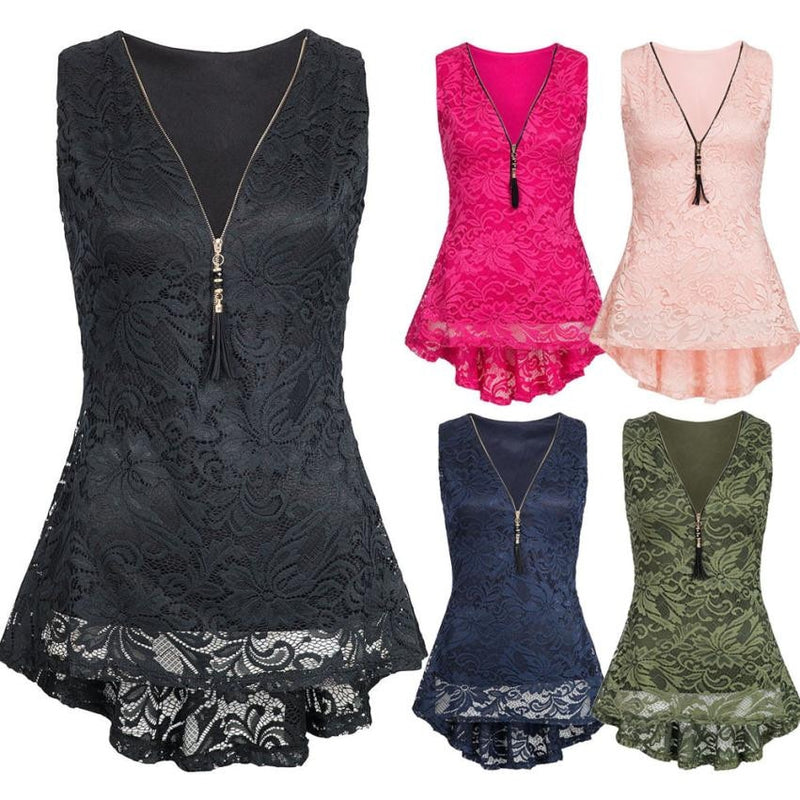806028a53e8 Tank Top Women 2018 Shirt Tops Lace Hollow Out Ladies V Neck Zippers Clothing  Top Female