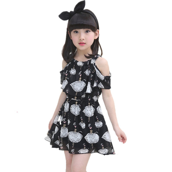 Girls Dress Baby Elegant Vestidos Chiffon Beach Teenager Fashion Kids Dresses For Girls Summer Clothes Toddler Children Clothing