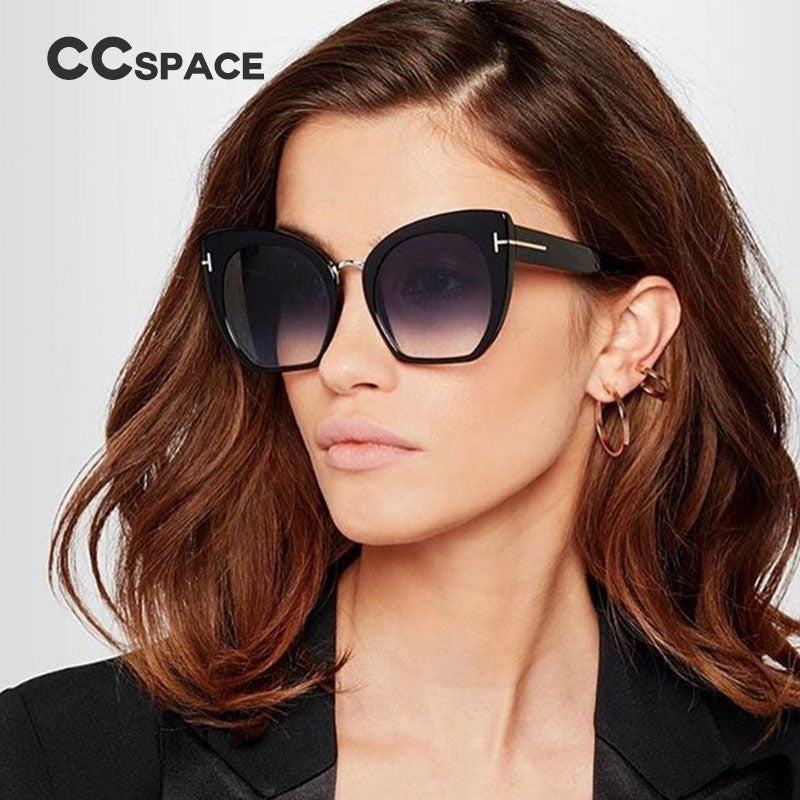 63ba5a10415 CCSPACE Lady Oversized Sunglasses For Women Cat Eye Brand Designer Glasses  Fashion Rivet T Eyewear 100