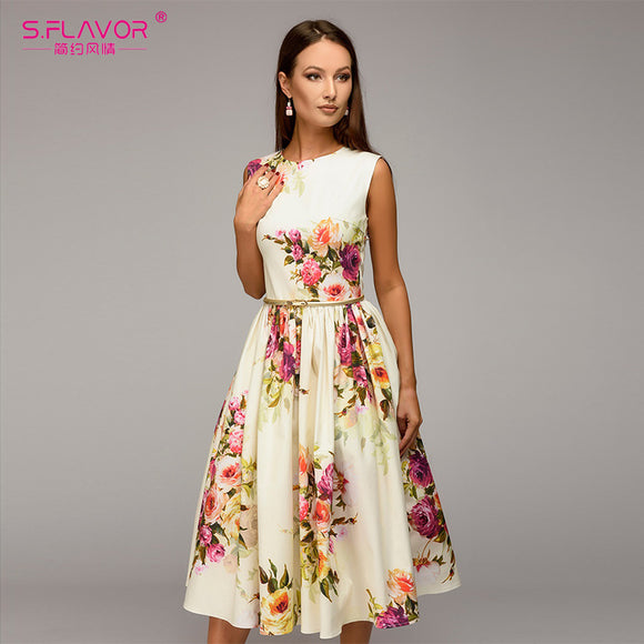S.FLAVOR Lady party dress Hot sale autumn Summer women sleeveless flowers printing vestidos Elegant casual A-line dress No Belt