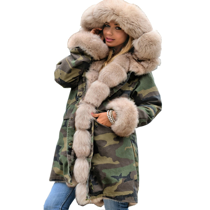73f547f8cfa Roiii 2018 Cotton Long Parka Hood Jacket Thicken Camouflage Military Beige Faux  Fur Print Winter Outwear
