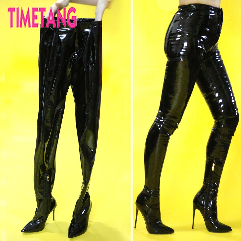 2220f8269412 TIMETANG European T-stage Hot Sexy Women Bootcuts Pointed Toe Thigh High  Boot Pants Night