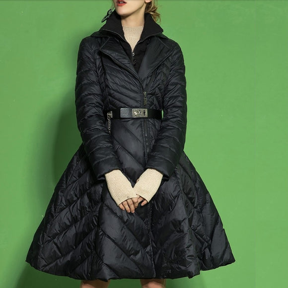 2018 Winter Women's Down Jacket Skirt Coat French Fashion Fake Two Piece Ladies Duck Outerwear Big Size