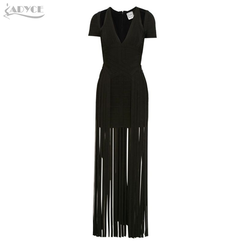 Adyce 2018 Summer Fringe Bandage Dress Women Sexy Black Short Sleeve T –  Zodeys 3831d483b5f19