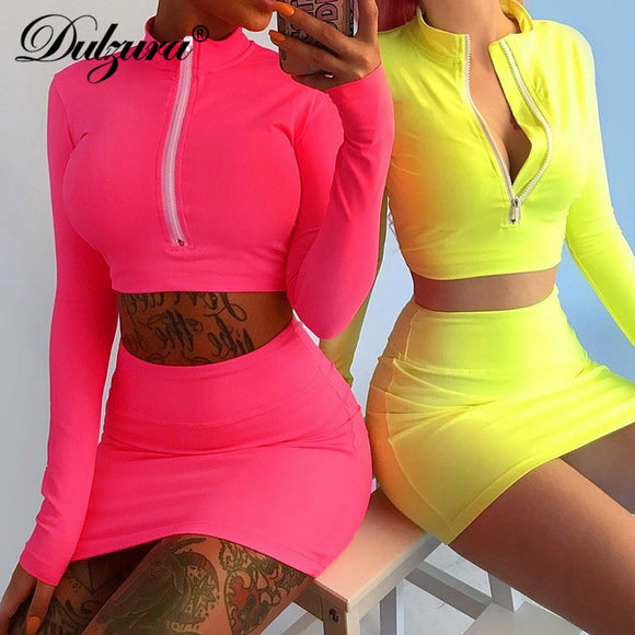 Dulzura zipper long sleeve crop top high waist mini pencil mini skirt 2 pieces set 2018 autumn winter women sexy outfits
