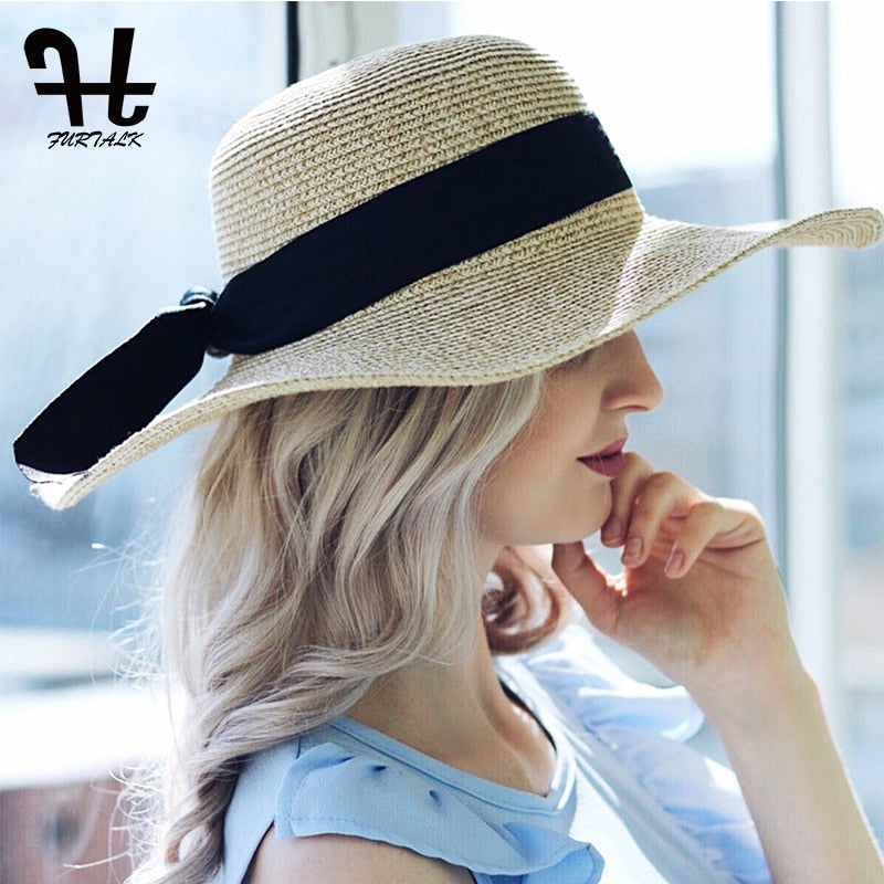 0232be130e9 FURTALK 2018 Summer Sun Hat for Women Straw Hat for Beach Sun hat Travel  Bucket Hat