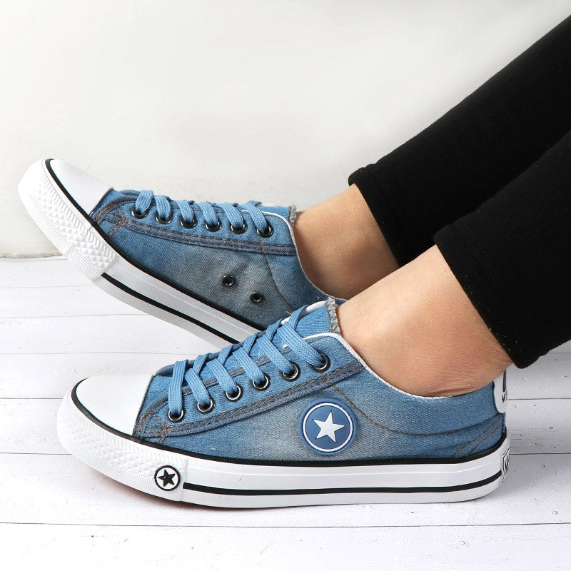702a39e1d68 Women Sneakers Casual Canvas Shoes Denim Plus Size 34-44 Summer Female Stars  Trainers Ladies