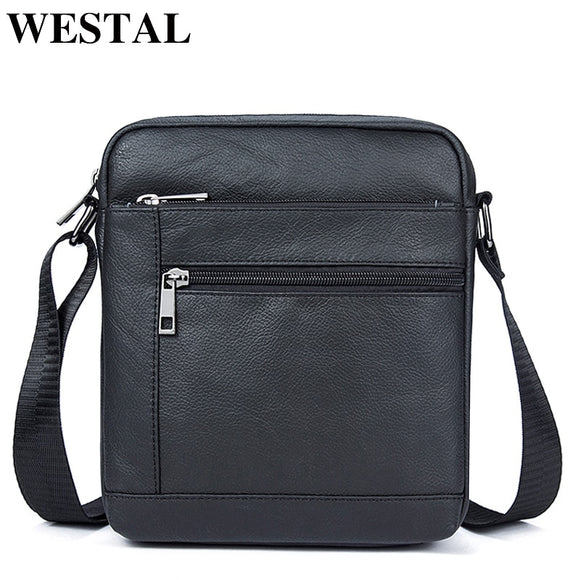 WESTAL Messenger Bag Men's Genuine Leather Shoulder Bag Men Leather Small ipad Crossbody Bags for men naturally  Male Flap Bags
