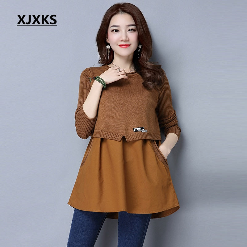 XJXKS Women Sweaters And Pullovers Solid Cashmere Chiffon Patchwork Casual  knit Spring Autumn Pockets Woman Sweater a1c782728
