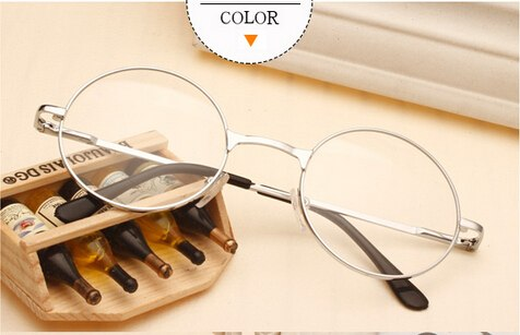 46ed386ed5b45 Women Vintage Glasses Frame Plain Mirror Big Round Metal Optical Frame