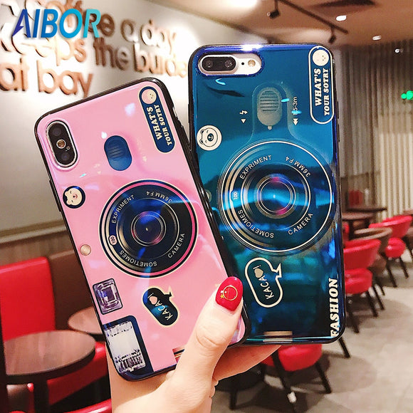 Blu-ray camera Kickstand Phone Case For iPhone 6S 6 7 8 X XS Max Plus Silicone Cute Camera Stand Holder Cover For iPhone 6S Plus