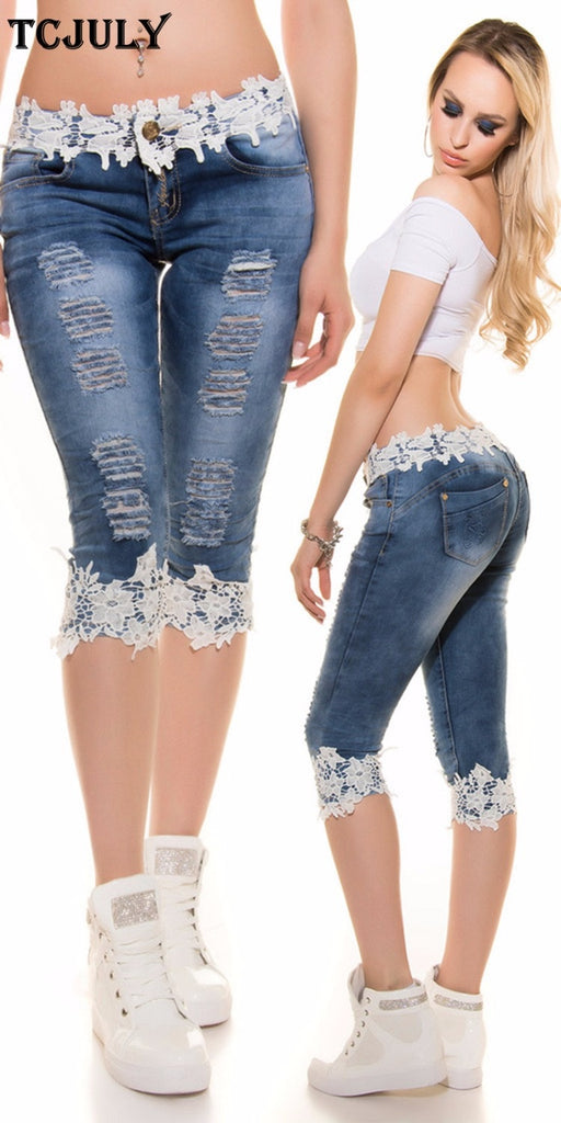 a9064da8d405 TCJULY 2019 Fashion Streetwear Knee Length Jeans With Lace Patchwork Skinny  Push Up Slim Capris Pants