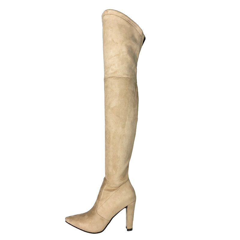 fff27f95b27 Leather V Shape Thigh High Boots Women s Stretch Suede Over the Knee Boots  Pointed Toe Party