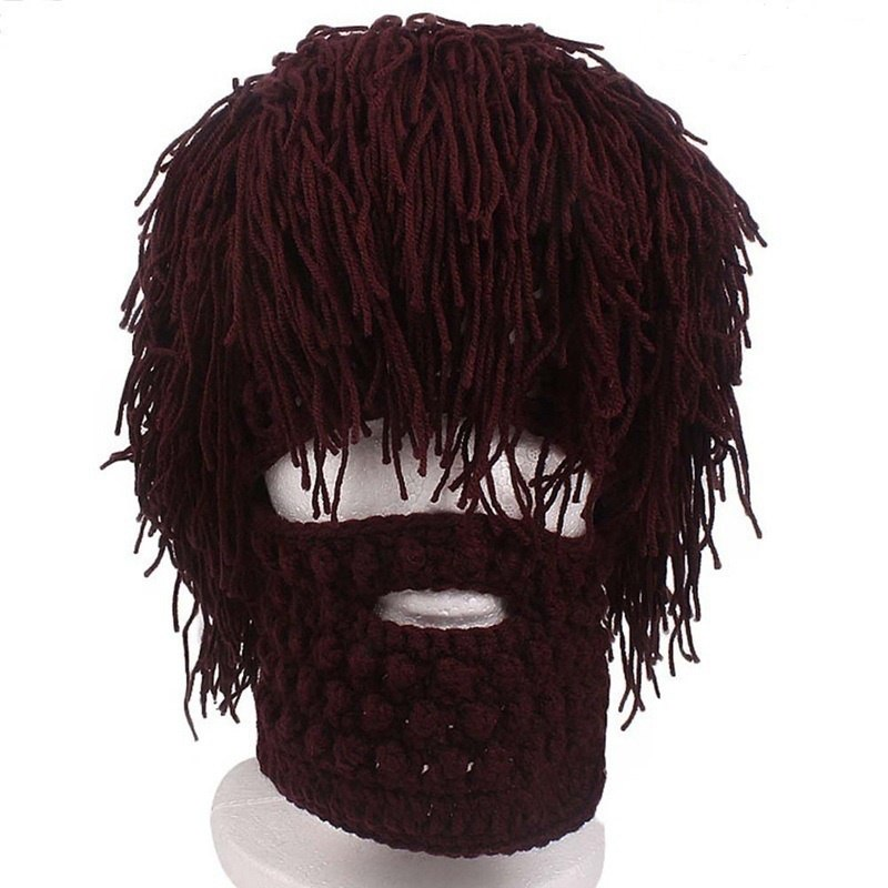 ffd1fc61303 New Handmade Knitted Men Winter Crochet Mustache Hat Beard Beanies Face  Tassel Bicycle Mask Ski Warm