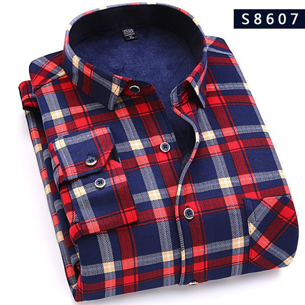 Winter Warm Plaid Casual Men Long Sleeve Shirt Men Fashion Thick Flann