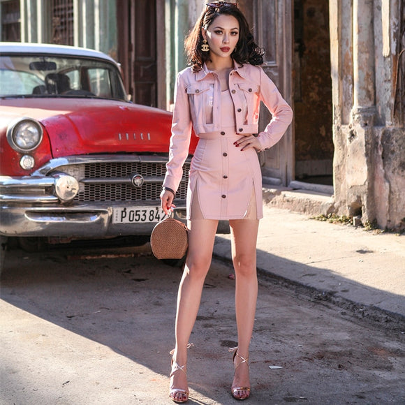 LE PALAIS VINTAGE 2018 Autumn Stylish Denim Short Jacket PVC Patchwork and Side Slits Short Skirt 2 Pieces Women Suits Pockets