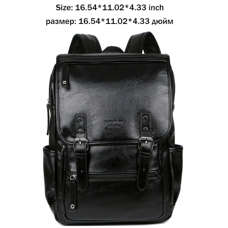 058ebd31264f Men s VICUNA POLO Large Black Leather Backpack School Bags For Adolesc