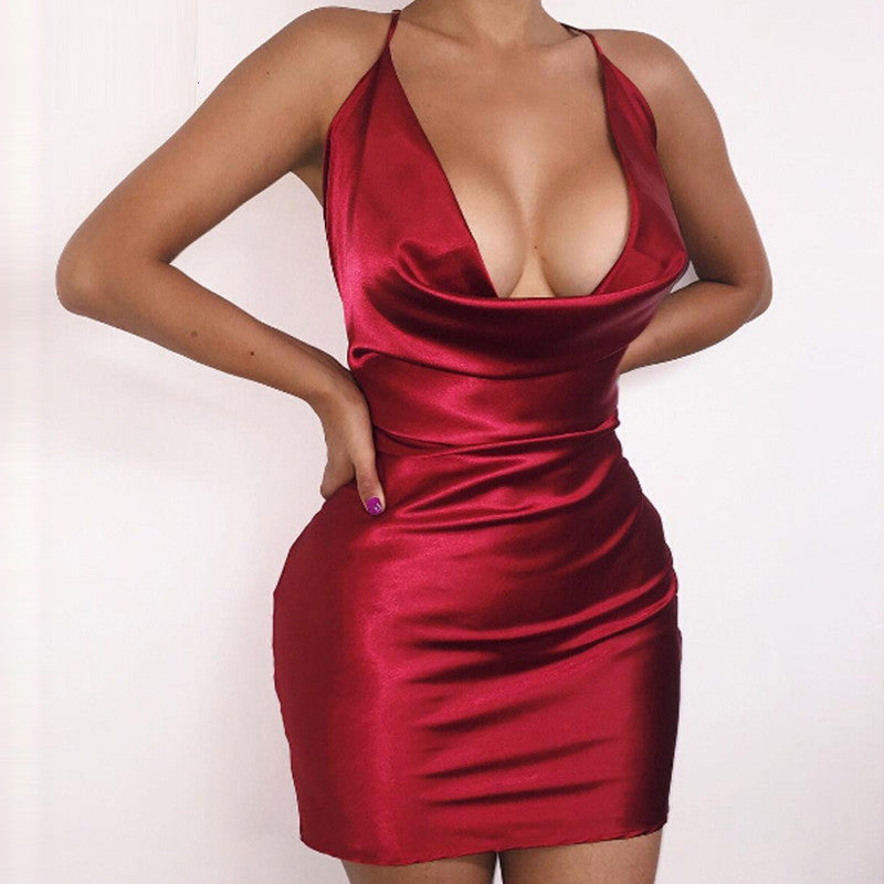 Summer Womens Sexy Satin Night Club Wear Dresses Ladies Red Spaghetti Strap V  Neck Backless Mini ad0109e34118